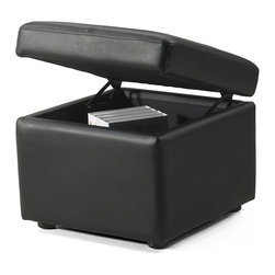 Zuri Furniture - Black Leatherette Key Ottoman with Storage - The key ottoman provides both style and functionality. This simple, yet stylish ottoman provides hidden shortage space for your convenience.