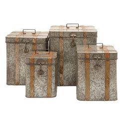 Benzara - Metal Galvanized Boxes Intricate Design - Set of 4 - Flaunting a charming, old-world style design, the Metal Galvanized Boxes are sure to make a wonderful decor accent. The metal used in the construction of this set is carefully galvanized which makes it resistant to easy wear, corrosion or rusting. Flaunting tall cube shapes, this box set is ideal for decorating conventional settings and can be used as an accent piece for contemporary home settings. The box set flaunts a simple, country-style design and is intricately detailed with rust finished metal stripes, rivets and slender handles that impart a captivating charm to the design. Crafted from solid, high grade metal, this box set is high on style and functionality and does not require too much maintenance. This is a wonderful gift for your near and dear ones./