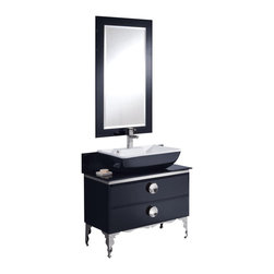 """Fresca - Moselle 36"""" Glass Vanity w/ Mirror Cascata Chrome Faucet - The Moselle vanity is the epitome of luxury.  This high quality vanity has a steel frame construction with a tempered glass exterior.  The interior drawers are made from Ebony Macassar which gives it a classic, high end look.  Many faucet styles to choose from."""