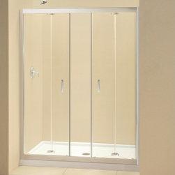 """DreamLine - DreamLine DL-6209R-01CL Butterfly Shower Door & Base - DreamLine Butterfly Frameless Bi-Fold Shower Door and SlimLine 30"""" by 60"""" Single Threshold Shower Base Right Hand Drain"""
