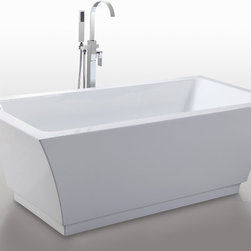 "HelixBath Pergamon Freestanding Acrylic Bathtub 67"" White - Designs created for bathing purists. The curves and lines are well conceived & uncomplicated. Helixbath's well tailored soaking tubs provide an ergonomic comfortable spa experience. Featuring an easy to clean 3M Fade Resistant finish and stainless steel frame, Pergamon is the very definition of beautiful longevity. Faucets pictured are for display purposes and not included with this tub."