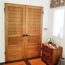 Japanese style door - Japanese style door, elm wood, golden oak finish.