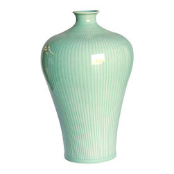 Belle & June - Celadon Carved Bamboo Prunus Vase - Add a few tall flowers or branches to this elegant vase for an immediate eye-catching display. This vase is stylish enough to stand alone on an end table or entryway table.