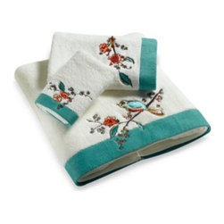 Lenox - Simply Fine Lenox Chirp Embroidered Bath Towel - These towels feature a bird and flowing branch design, elegantly embroidered on a 100% cotton terry towel accented with a bold teal border. 100% cotton.
