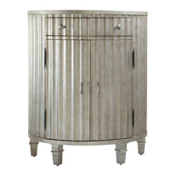 Hooker Furniture - Melange Fluted Demi Chest - White glove, in-home delivery!  For this item, additional shipping fee will apply.  Fluting detail and a concave shape distinguish this piece with two doors and an adjustable shelf inside.  One drawer.
