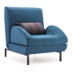 Zuo Modern - Zuo Modern Conic Arm Chair Sleeper w/ Cowboy Blue Body & Shadow Grid Cushion - Arm Chair Sleeper w/ Cowboy Blue Body & Shadow Grid Cushion belongs to Conic Collection by Zuo Modern The Conic Arm Chair folds out to a twin sized sleeper for comfort, style, and flexiblity. The body is fabric with steel legs. Sleeper Chair (1)