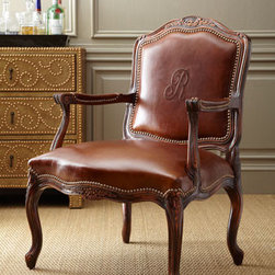 Monogrammed Leather Chair - Personalize your decor with a beautiful monogrammed leather chair. You'll also love its carved detailing, rich leather and nailhead trim.