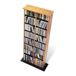 Prepac - Prepac Double CD DVD Multimedia Storage Tower in Oak and Black - Prepac - CD & DVD Media Storage - OMA0320 - This attractive multimedia storage tower with central divider is designed to accommodate any combination of media in a modest collection. Fully adjustable shelves can be set to any position to accommodate your collection and to ensure flexibility for future expansion.