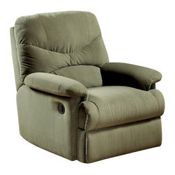 "Acme - Arcadia Sage Microfiber Fabric Standard Motion Recliner Chair - Arcadia sage microfiber fabric standard motion recliner chair with overstuffed seats and arms. This recliner features a microfiber fabric upholstery with a release latch on the side of the recliner, this is a manual recliner you need to push the footrest back to lock it in. Recliner measures 38"" x 35"" x 40"" H. Some assembly may be required."
