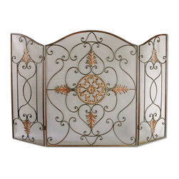 Uttermost - Egan, Fireplace Screen - This attractive fireplace screen is made of wrought iron. The dark brown basecoat is covered with a semi-transparent dark gray wash and a tan glaze. The perfect finishing touch to a fireplace.