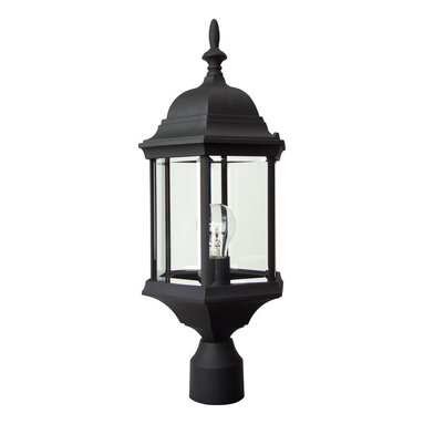Exteriors - Exteriors Cast Aluminum Hex Style Outdoor Post Lantern Light X-50-596Z - The unique multisided lantern design of this Craftmade outdoor post lantern light allows it to be a fresh, new look that will effortlessly compliment any traditional outdoor lighting scheme. Clear beveled glass panels compliment the traditional style while a Matte Black finish pulls the entire design together.
