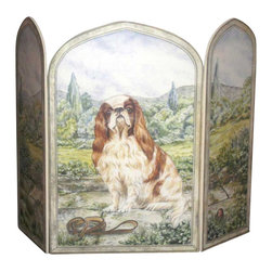 "Stupell Industries - King Charles Spaniel 3 Panel Decorative Fireplace Screen - Decorative and functional. Made in USA. Original Stupell art. 44 in. W x 31 in. H (Approx.). 0.5 in. ThickA fireplace screen from ""The Stupell Home decor Collection"" will be the focal point of any room and the beautiful color and design will immediately enhance your hearth and it's surroundings. Both functional and decorative, this one of kind screen will keep your fireplace out of sight when it's not in use. This piece is handcrafted from original artwork by English muralist Julie Perren. A lithograph is laminated on sturdy 1/2'' thick mdf fiberboard and the sides are hand painted. The item is already assembled in the box and ready to be put in front of the fireplace. Made in USA."