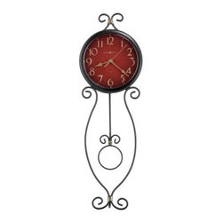 Howard Miller Addison Wall Clock - 8 in. Wide - The metal wire design of the Howard Miller Addison Wall Clock is sure to add a dash of contemporary chic to any decor. Finished in antique black with antique gold highlights this clock's dial features an antique red background with gold Arabic numerals and antique gold spade hands. The pendulum bob is an open circle suspended on a metal pendulum. A black bezel surrounds the convex acrylic crystal. Quartz battery-operated movement ensures years of use.We are an authorized Howard Miller dealer providing you with a vast selection of celebrated clocks. We also provide peace of mind with a White Glove delivery service that will deliver your new clock into your home or office not just at the front door. We understand that choosing the perfect grandfather clock is a decision that will last your family for generations. Shop with confidence and find the crown of your heirloom collection with a company you can trust. Thank you for complementing your lifestyle with our company's fine products.About Howard MillerBeginning in the 1920's Howard Miller clocks have impressed all who see them with superior quality and design. Howard Miller wall floor and mantel clocks are crafted to last for generations and to perfectly accent your home.The company's founder Howard C. Miller began manufacturing wall and mantel clocks in Michigan. Evolving to encompass cabinet making and other furniture design - all renowned for quality and style - the Howard Miller company proudly stands behind its reputation as the World's Largest Clock Manufacturer.