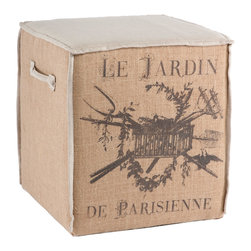 """Aidan Gray - Aidan Gray Furniture Le Jardin Cube - The perfect size for extra seating, this burlap with linen accent cube is the ideal seat height, allowing it to be tucked under a table and pulled out when extra seating is needed. Dimensions 20""""T x 18""""W x 18""""D"""