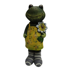 Alpine - Girl Frog Statue with Flower - Medium - Add a fun look to your landscape with these delightful garden statuaries. You can group them in your walkway, garden and pond or use individually around your deck or patio. These unique figures are made with the precision of fine detailed craftsmanship to make a one of a kind product.Features: