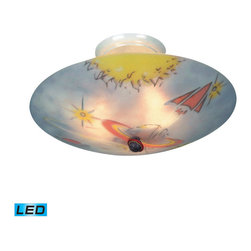 Elk Lighting - Landmark Lighting Kidshine 201-GE-LED 3-Light Semi Flush - LED - 800 Lumens (240 - 201-GE-LED 3-Light Semi Flush - LED - 800 Lumens (2400 Lumens Total) w/ Full Scale Dimming Range - 60 Watt belongs to Kidshine Collection by Landmark Lighting Kidshine Lights��_��_��__��__ By Landmark Lighting Are Overhead Lights Made From Double Thick Glass That Has Been Silkscreened With One Of Eight Designs. The Glass Is Then Heated, Gently Curved And Finally Sandblasted To Form A Rich And Lustrous Texture. All Lights Are A Generous 17 Inches In Diameter And Come With Easy-To-Install Ceiling-Mounted Electric Fixtures Fitted For Three 60 Watt Bulbs. Ul Listed. - LED, 800 Lumens (2400 Lumens Total) With Full Scale Dimming Range, 60 Watt (180 Watt Total)Equivalent , 120V Replaceable LED Bulb Included Semi Flush (1)