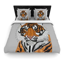 "Kess InHouse - Art Love Passion ""Tiger"" Gray Orange Cotton Duvet Cover (King, 104"" x 88"") - Rest in comfort among this artistically inclined cotton blend duvet cover. This duvet cover is as light as a feather! You will be sure to be the envy of all of your guests with this aesthetically pleasing duvet. We highly recommend washing this as many times as you like as this material will not fade or lose comfort. Cotton blended, this duvet cover is not only beautiful and artistic but can be used year round with a duvet insert! Add our cotton shams to make your bed complete and looking stylish and artistic!"