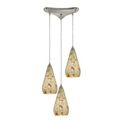Elk Lighting - Elk Lighting 546-3SLVM-CRC 3 Light Pendant in Satin Nickel w/ Silver Multi Crack - 3 Light Pendant in Satin Nickel w/ Silver Multi Crackle belongs to Curvalo Collection by Elk Lighting Individuality Is What Defines This Exquisite Line Of Hand Blown Glass. Each Piece Is Meticulously Hand Blown With Up To Three Layers Of Uncompromising Beauty And Style.  Pendant (1)