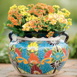 Unique Handcrafted Colorful Ceramic Talavera Planter - Place your plant of choice in this gorgeous colorful planter. It makes me happy just looking at it.
