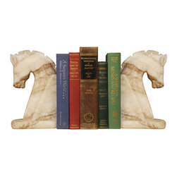 Kathy Kuo Home - Bente Global Bazaar Marble Horses Bookends - Exotic white and cream-colored marble is sculpted into equine forms. Graceful and gorgeous, these bowing horse head bookends add an eclectic element on your shelf or fireplace mantel. They can also be displayed separately, as solo pieces of artwork.