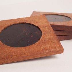 Mixed Media and Functional Art - Rustic coasters made with reclaimed wood and leather insets (sold individually or as set with holder).