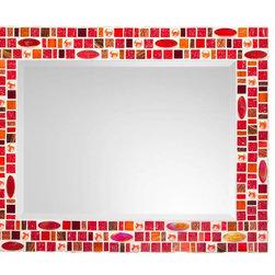 "Mosaic Mirror - Red & Orange (Handmade), 30"" X 24"", Horizontal - MIRROR DESCRIPTION"