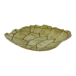 Glass Turtle Shell Decorative Centerpiece Bowl - This gorgeous glass turtle shell bowl is a wonderful accent to any table in your home. It measures 14 inches long, 13 1/2 inches wide, 3 1/4 inches tall and features beautiful beige and tan hues with metallic gold accents. It makes a great housewarming gift, and is sure to be admired.