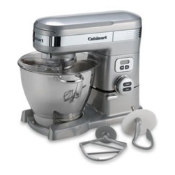 Cuisinart - Cuisinart 5 1/2-Quart Stand Mixer - Stand mixer with die-case metal construction has a handsome brushed chrome finish. The heaviest of mixing tasks are easy to handle with the powerful 800-watt motor, while the 5 1/2-quart stainless steel bowl holds plenty of ingredients.