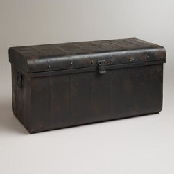 Vaughn Metal Trunk - This metal vintage-style trunk would make a great coffee table. The dark tones offer a perfect contrast against lighter elements in a room.