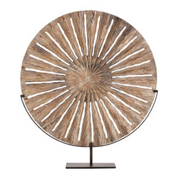 Kathy Kuo Home - Holden Large Modern Rustic Carved Wood Sculpture on Stand - A bold statement, evocative of primitive art, is created in a disc of finely carved wood.  A beautiful example of how powerful a single piece of sculptural art can be, this would be a beautiful addition to any contemporary space where art and aesthetics are celebrated.