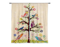 """DiaNoche Designs - Window Curtains Lined by Sascalia Owl Bird Tree 2 - DiaNoche Designs works with artists from around the world to print their stunning works to many unique home decor items.  Purchasing window curtains just got easier and better! Create a designer look to any of your living spaces with our decorative and unique """"Lined Window Curtains."""" Perfect for the living room, dining room or bedroom, these artistic curtains are an easy and inexpensive way to add color and style when decorating your home.  This is a woven poly material that filters outside light and creates a privacy barrier.  Each package includes two easy-to-hang, 3 inch diameter pole-pocket curtain panels.  The width listed is the total measurement of the two panels.  Curtain rod sold separately. Easy care, machine wash cold, tumble dry low, iron low if needed.  Printed in the USA."""