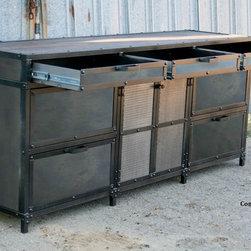 Vintage Industrial File Cabinet. Mid Century Modern. Steel and reclaimed wood -