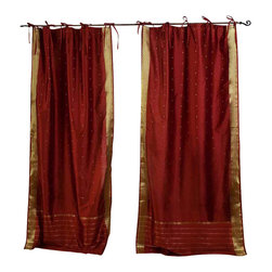 Indian Selections - Pair of Rust Tie Top Sheer Sari Curtains, 43 X 63 In. - Size of each curtain: 43 Inches wide X 63 Inches drop.