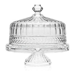 "Godinger Silver - Symphony 4 in 1 Crystal Cake Stand - A unique way to add a special touch to any event, our spectacular 4 in 1 crystal cake plate creates a beautiful presentation while leaving a lasting impression on your guests! This versatile cake plate and dome is designed to be used in a variety of ways for all your serving and entertaining needs. Turn the plate over and the cake plate transforms into a glistering crystal footed punch bowl which will serve up the most delicious punch at your parties. Our magnificent cake stand is footed, providing a beautiful crystal centerpiece to serve and display cakes, pies, appetizers and more. * Dimensions: W: 12"" D: 12"" H: 13"""