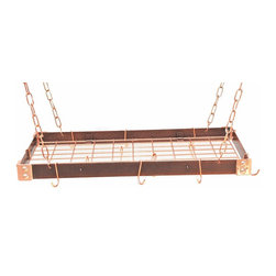 """Rogar - KD Rectangle with Grid, Hammered Copper/Copper - Dimensions:  30"""" x 15"""" x 2"""""""