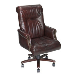Hooker Furniture - Leather Office Chair EC215 by Hooker Furniture - Executive Swivel Office Chair by Hooker Furniture and Hooker Office Chairs. These chairs are a great scale and can be used in a home office where you need a chair that is not bulky in size and will fit most any home office desk.