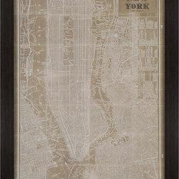 Paragon Decor - Blue Print Map New York Artwork - Sepia vintage map of New York