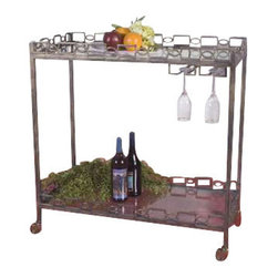 Uttermost Nicoline Iron Serving Cart - Forged iron with brass patina and clear, tempered glass.  Stemware hanger and rolling casters. Forged iron with brass patina and clear, tempered glass. Features stemware hanger and rolling casters.