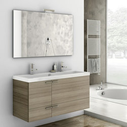 ACF - 47 Inch Bathroom Vanity Set - Set Includes: . Vanity Cabinet (2 doors, 2 drawers). Fitted ceramic sink (47.2 inch x 18 inch ). Mirror (W 47.2 inch x H 28.3 inch ). Vanity light. Vanity Set Features:. Vanity cabinet made of engineered wood. Cabinet features waterproof panels. Available in Larch Canapa, Wenge, Grey Oak Senlis, Glossy White. Cabinet features 2 doors and 2 soft-closing drawers. Faucet not included. Perfect for modern bathrooms. Made and designed in Italy. Includes manufacturer 5 year warranty.