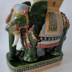 Vintage Elephant Chinoiserie Table Garden Stool By