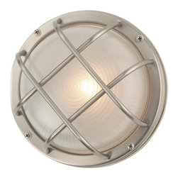 Design Classics Lighting - Bulkhead Marine Outdoor Ceiling / Wall Light - 8-Inches Wide - 39456 SS - Nautical marine round bulkhead wall / ceiling light in stainless steel finish. This bulkhead wall light can be mounted on the wall or ceiling. Takes (1) 60-watt incandescent A19 bulb(s). Bulb(s) sold separately. UL listed. Wet location rated.