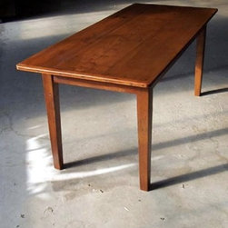 Straight Leg Reclaimed Wood Table With Brown Cherry Finish - Made by www.ecustomfinishes.com