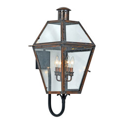 Quoizel - Quoizel RO8414AC Rue De Royal 4 Light Outdoor Wall Lights in Aged Copper - Long Description: From the Charleston Copper Lantern Collection, this piece gives you the historic look of gas lighting, but without the hassle of a propane feed. It is all electric, solid copper and hand riveted, giving your home the romantic, reproduction style of antique gas lights still popular today on many of the charming homes in New Orleans and Charleston.