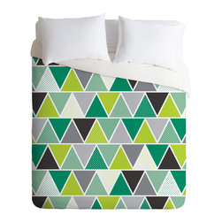 DENY Designs - Heather Dutton Emerald Triangulum Duvet Cover - Turn your basic, boring down comforter into the super stylish focal point of your bedroom. Our Luxe Duvet is made from a heavy-weight luxurious woven polyester with a 50% cotton/50% polyester cream bottom. It also includes a hidden zipper with interior corner ties to secure your comforter. It's comfy, fade-resistant, and custom printed for each and every customer.