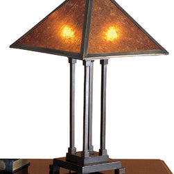 Meyda - 24 Inch Height Mica Mission Table Lamps - Color theme: Amber