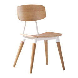 Ito Dining Chair, White Oak Veneer with White Base, Set of 2