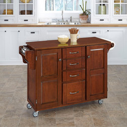 None - Cherry Finish with Cherry Top Create-a-Cart - This attractive cart from Home Styles features a natural finish with a three quarter inch marble top. In addition,this piece features a durable,solid wood construction and wheels for mobility.