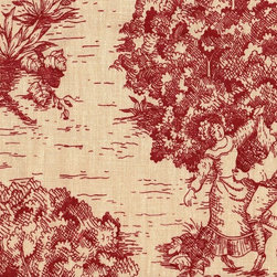 Close to Custom Linens - Queen Skirted Coverlet Toile Crimson Red - A charming traditional toile print in crimson red on a beige background. This skirted coverlet has a gathered skirt with a 22 inch drop. The top of the coverlet is lined and quilted in a 9 inch diamond pattern. Shams and pillows are sold separately.
