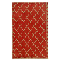 """Trans-Ocean - Floor Tile Red Rugs 1976/24 - 8'3""""X11'6"""" - Intricately shaded yarns combined with the textural appeal of a tight loop construction create great visual appeal.These Tufted loop construction rugs are hand crafted in China of high quality synthetic materials.The synthetic material and loop construction makes these rugs soft underfoot, yet durable enough for any high traffic area of your home."""