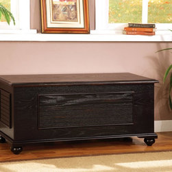 Coaster - Black Transitional Cedar Chest - Black cedar chest features a lift-up top and shutter pattern panels.